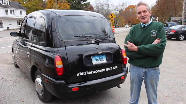 """John Harris, owner of the White Horse Country Pub & Restaurant in New Preston, Conn., has a 2003 LTI TXII as a company car. The London taxi model was used for years by Jo Frost on the TV series """"Supernanny"""" before landing in northwestern Connecticut in 2011."""