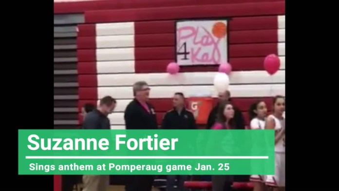 Suzanne Fortier sings national anthem at Pomperaug game