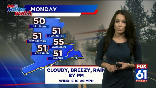Cloudy, breezy with afternoon rain on Monday