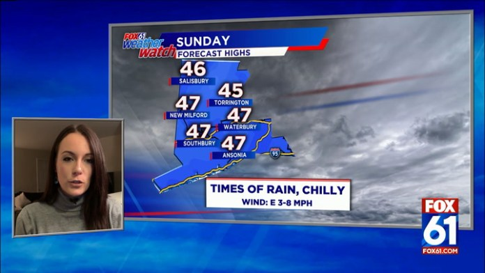 Periods of rain, chilly on Sunday