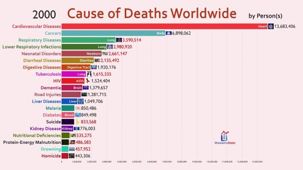 Top 20 Cause of Deaths Worldwide (1990-2018) - Cool Stats ...