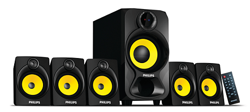 Philips Heart Beat SPA-3800B 5.1 Channel Home Theater System (Black-Yellow)