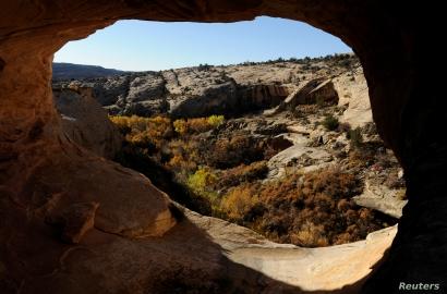 Ruins of ancestral Pueblo cliff dwellings at Butler Wash in Bears Ears National Monument near Blanding, Utah, Oct. 27, 2017.