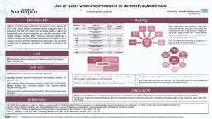 Poster: Lack of care? Women's experiences of maternal bladder care