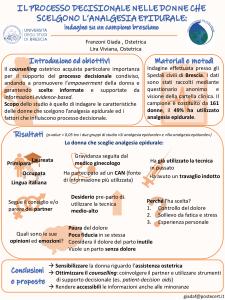 Poster: Il processo decisionale nelle donne che scelgono L'analgesia epidurale: Indagine su un campione bresciano