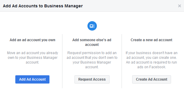 facebook business manager ad account types