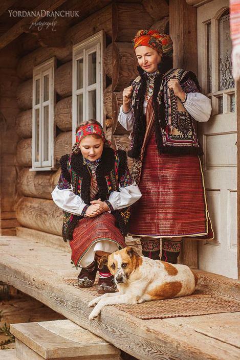 Hutsul women wearing traditional folk clothing