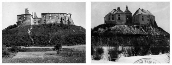 Олеський замок фото 1960 та 1963 років. Фото замку до і після реставрації.
