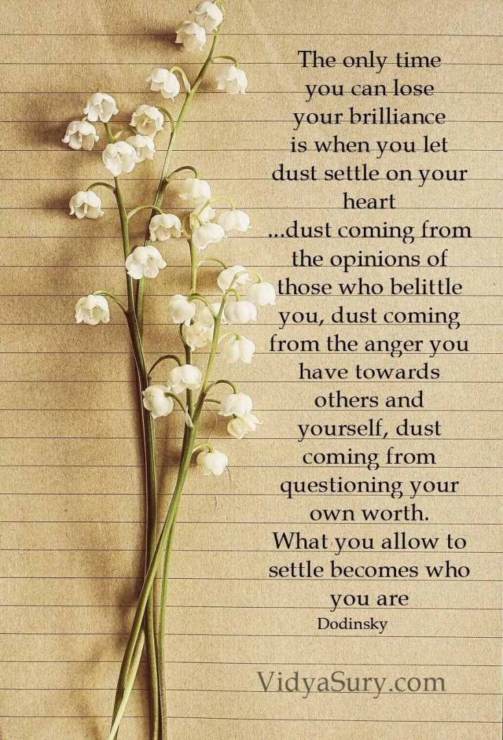 The only time you can lose your brilliance is when you let dust settle on your heart ...dust coming from the opinions of those who belittle you, dust coming from the anger you have towards others and yourself, dust coming from questioning your own worth. What you allow to settle becomes who you are #inspiringquotes