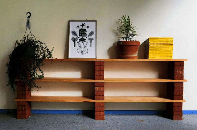 easy diy home decor hacks shelf with brick and plank