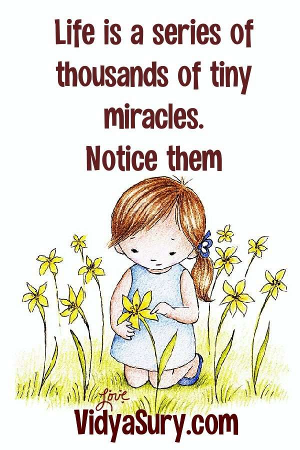 Life is a series of thousands of tiny miracles. Live life from miracle to miracle.
