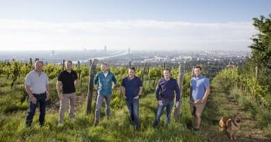 Foto Winzer: Raimo Rudi Rumpler BU: Die WienWein-Gruppe (v. l.): Fritz Wieninger, Michael Edlmoser, Rainer Christ, Thomas Podsednik, Gerhard J. Lobner, Thomas Huber am Nussberg