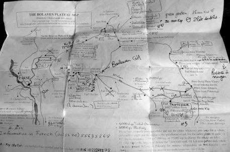 Sud du Laos Carte du Plateau des Bolovens