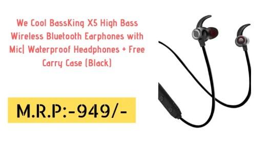 557150de234 We Cool BassKing X5 High Bass Wireless Bluetooth Earphones with Mic|  Waterproof Headphones + Free Carry Case (Black)
