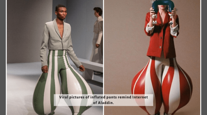 Viral pictures of inflated pants remind Internet of Aladdin.