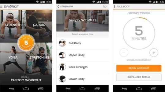 sworkit- best health and fitness apps for android users in 2021