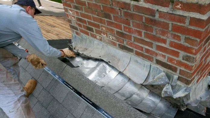 Damaged flashing: Roofing issues