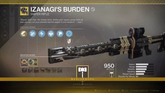Izanagis Burden Sniper rifle