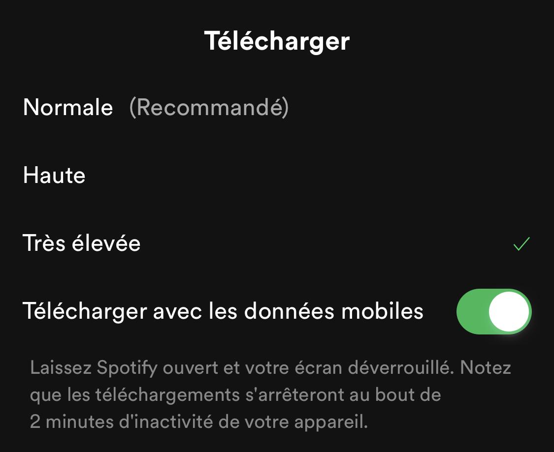 Choix qualité téléchargement Spotify