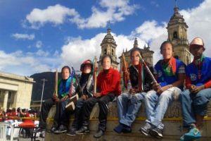 Indígenas protestando en Bogotá, Colombia