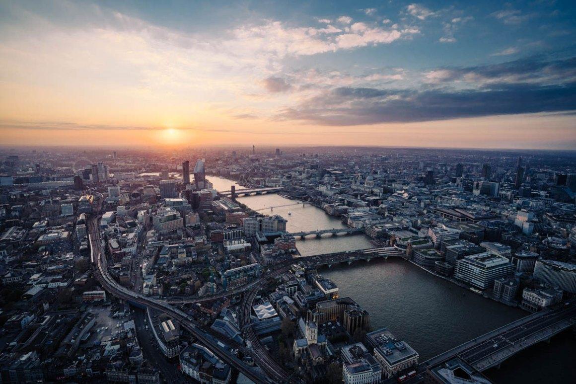 Uitzicht vanaf de Shard London zonsondergang