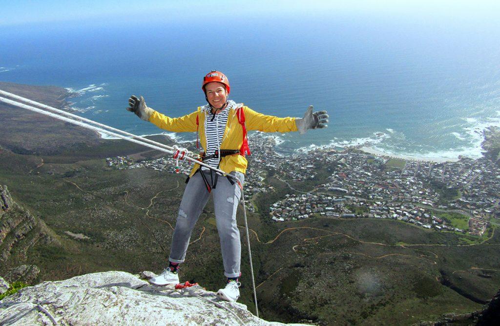 De Tafelbergabseil Afrika van Kaapstad