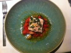 Mikla: Grouper - Slow Cooked Grouper, Roasted Tomato, Halhali Olives, Salicornia, Tire Potato, Fig Vinaigrette