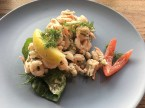 Toast Skagen, shrimp salad on focaccia with dill & lemon, BOB - Biomio Organic Bistro