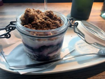 Cheese cake with peanut crumble & blueberries, BOB - Biomio Organic Bistro