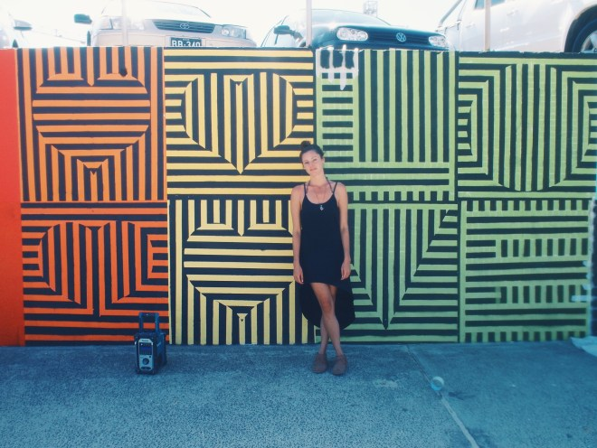 Getting close and personal with the graffiti art wall in Bondi.