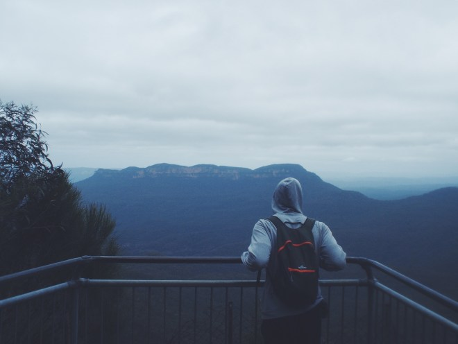 Looking out into the world... Blue Mountains are pretty blue.