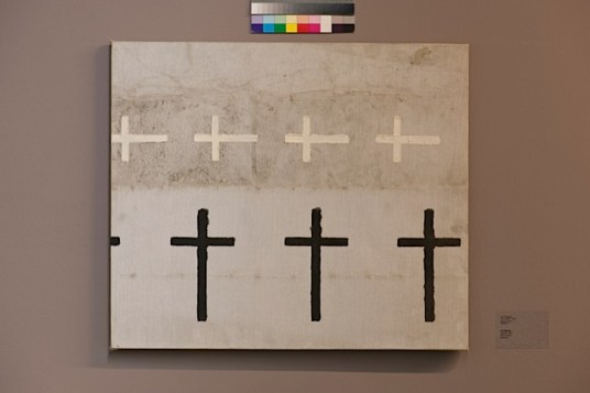 """Guia Rigvava Study for the theme of Sublation. """"Pattern with crosses"""", 1989 Oil on canvas 60.8 x 70.3 cm"""