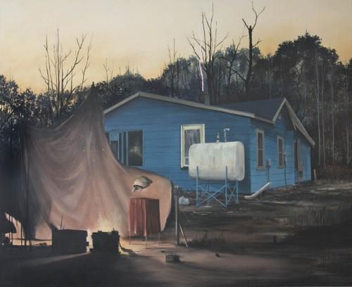 Daniel Schussler, Vorhandene Feuer nutzen (Rast der Offiziere), Painting, 130 x 160 x 4 cm, 2015, Ambacher Contemporary, photocredit: courtesy of the artist