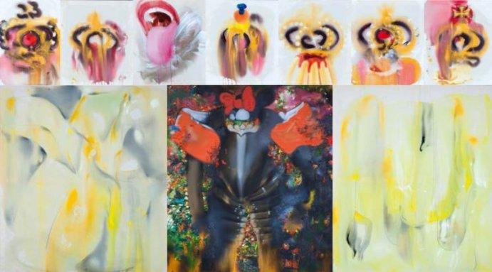 Ursula Buchart, Alles für die Krone, acrylic and oil on canvas, 230x420 cm, 2014, Gallery Ernst Hilger, photocredit: courtesy of www.styrianart.at