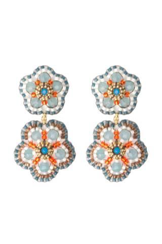 Exklusive Blüten von New One 180€ http://www.newone-shop.com/new-one-jewelry/miguel-ases-ohrschmuck-gold-filled-miyuki-perlen-swarovski-steine-quarz-blau-bronze-weiss-rot.html