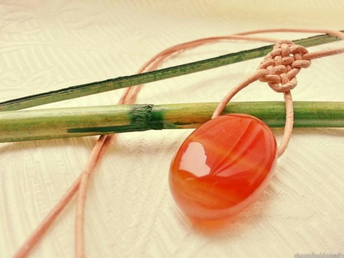 stone necklace, Karneol, Kette mit Knotendetail, DIY