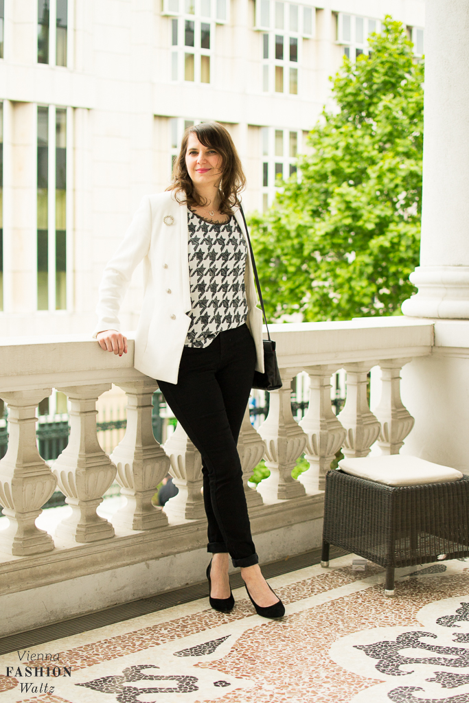 Black & White Jeans-Look