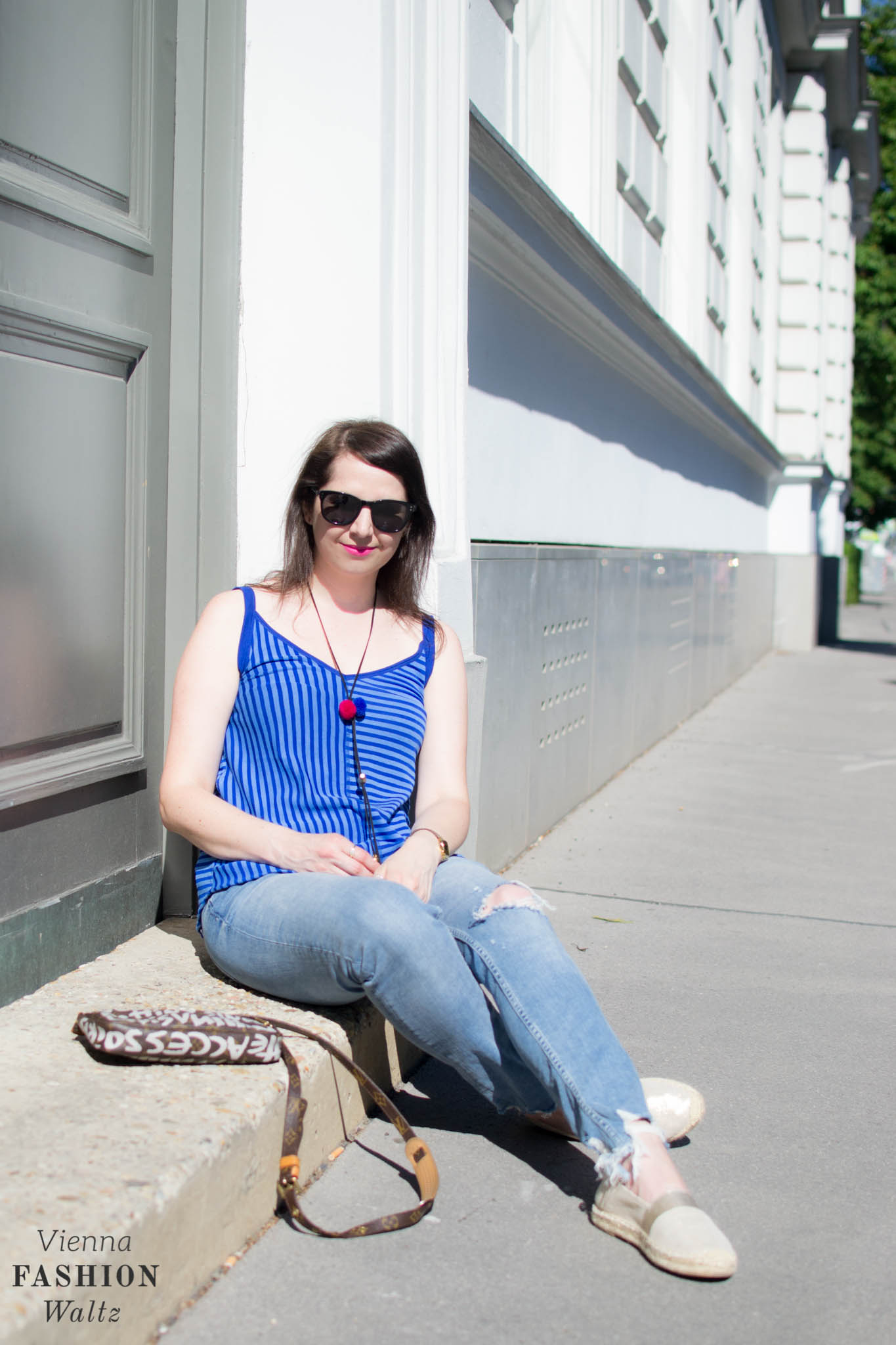 Stripes Shirt & Jeans, Vintage Bag Louis Vuitton