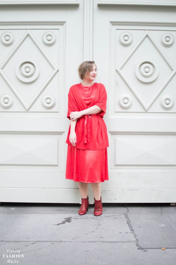 Red All Over Outfit | Mago dress, red boots, red cardigan