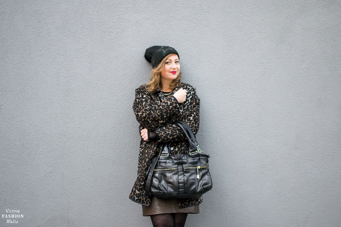 Fashion Trends | How to wear the Leopard Print! Outfit with leopard print Coat and Leather Skirt