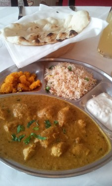 The lunch menu - Chicken curry with polenta, rice and yogurt sauce