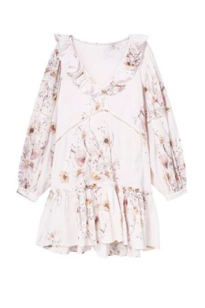 White Floral Pattern Dress