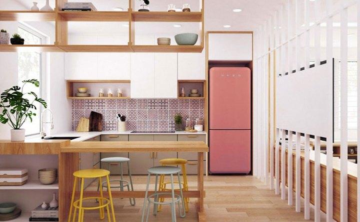 25 Ý tưởng thiết kế đồ nội thất Sang Trọng cho nhà bếp với MÀU HỒNG 20