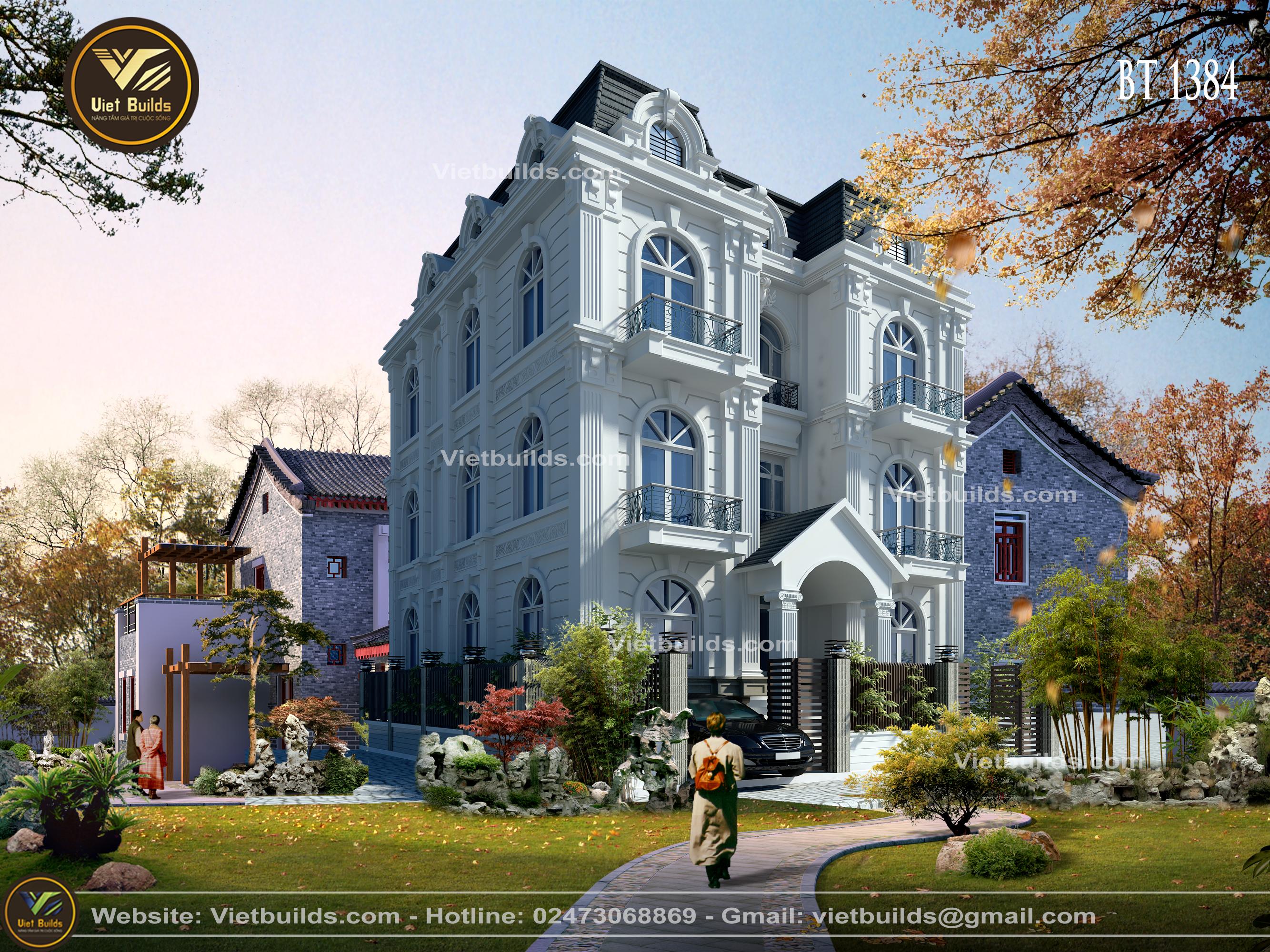 Mẫu thiết kế biệt thự Pháp tân cổ điển đẹp BT1384
