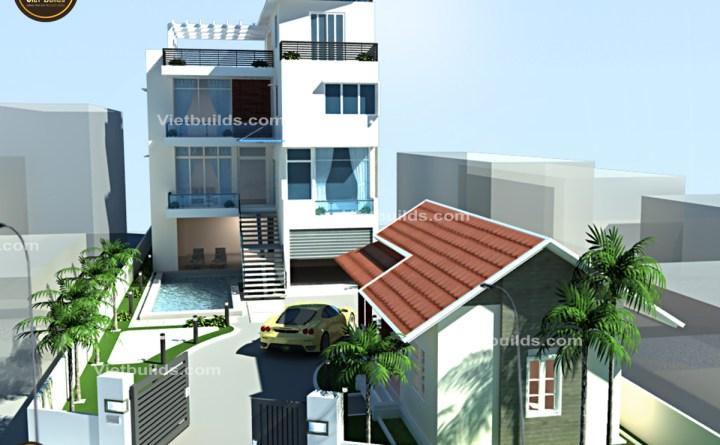 mẫu thiết kế biệt thự phố hiện đại 4 tầng đẹp BT1393
