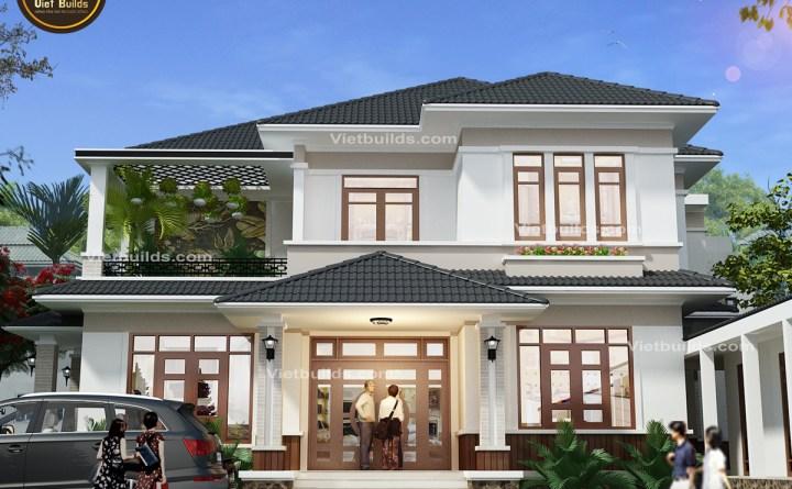 Mẫu biệt thự mái thái 2 tầng đẹp ở Thái Nguyên BT16063