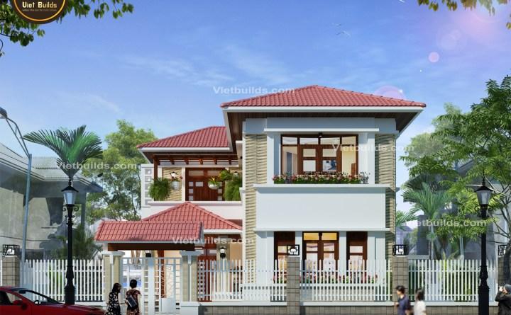 mẫu nhà 2 tầng mái Kiểu Thái đẹp BT1404