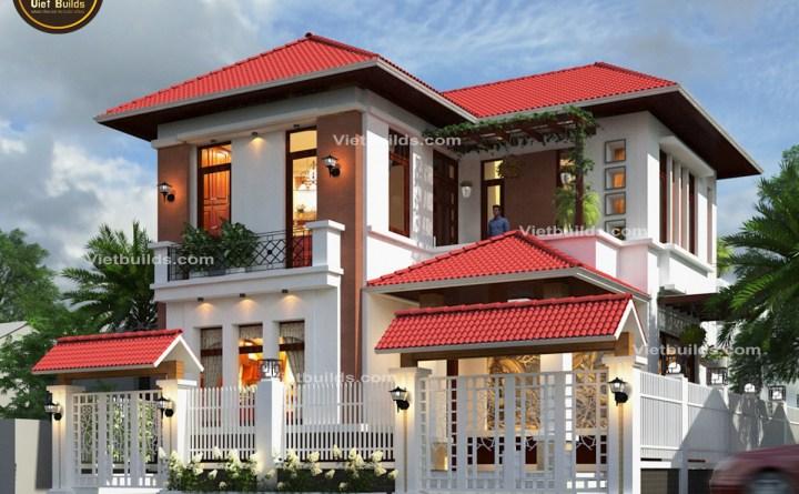 mẫu nhà 2 tầng mái thái đẹp ở Thái Nguyên BT1407