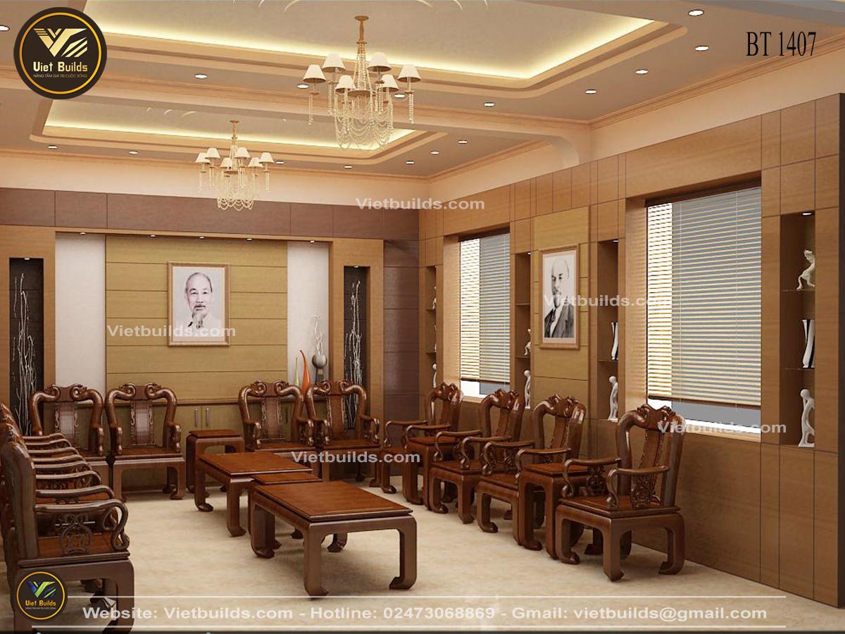 Mẫu thiết kế phòng tiếp khách đẹp Sang Trọng cho cơ quan NT1407