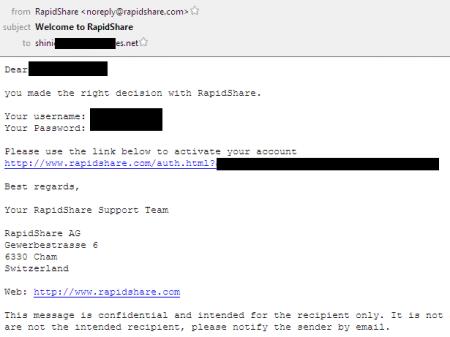 Email yêu cầu xác nhận của RS